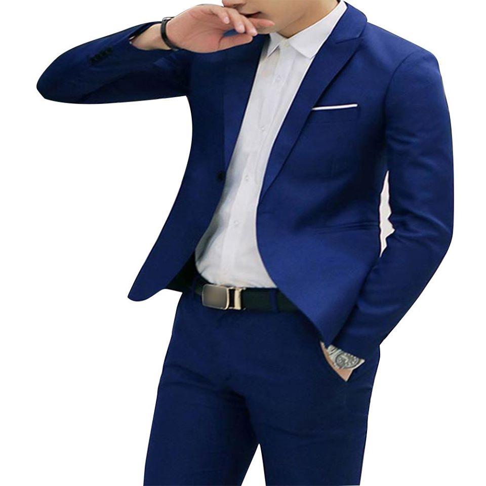 Men Casual Business Jacket One Button Slim Fit Suit Fashionable Coat Tops royalblue 3XL